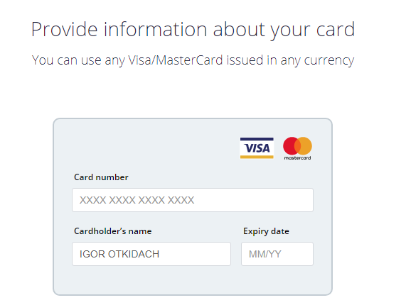 Manage your payment cards - CEX.IO